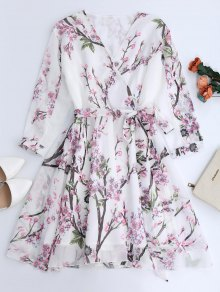 Floral Surplice Chiffon Flowy Dress - White M