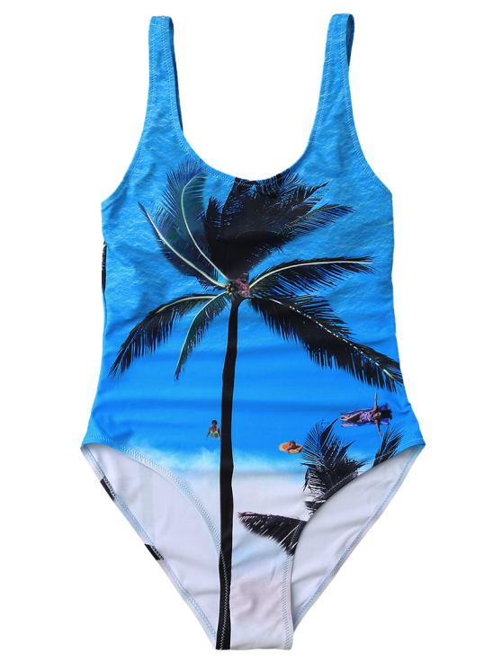 Slimming Tropical Print One Piece Swimsuit - BLUE L Mobile