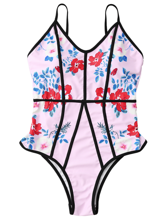 Floral Print Slimming One Piece Swimsuit - PINK XL Mobile