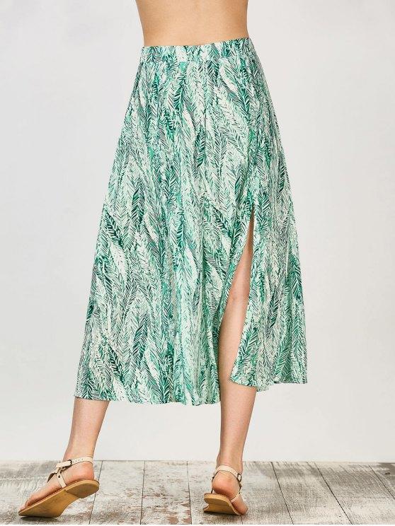 Leaf Print Slit Chiffon Midi Skirt - GREEN L Mobile