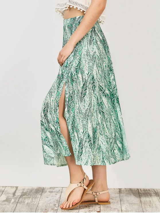 Leaf Print Slit Chiffon Midi Skirt - GREEN S Mobile