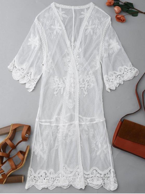 women's Sheer Lace Open Front Kimono Dust Coat - WHITE M