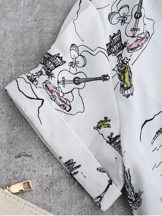 Printed Side Tie Poplin Top - WHITE L Mobile