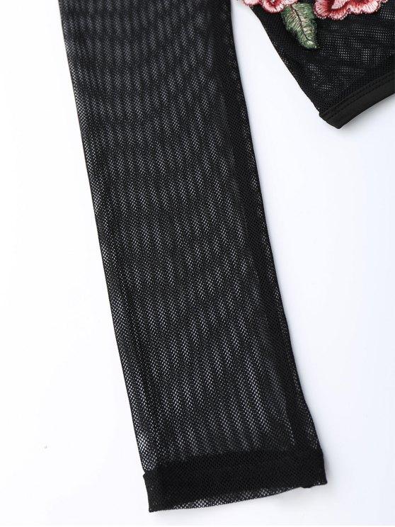 Mesh See Thru Rose Embroidered Crop Top - BLACK S Mobile