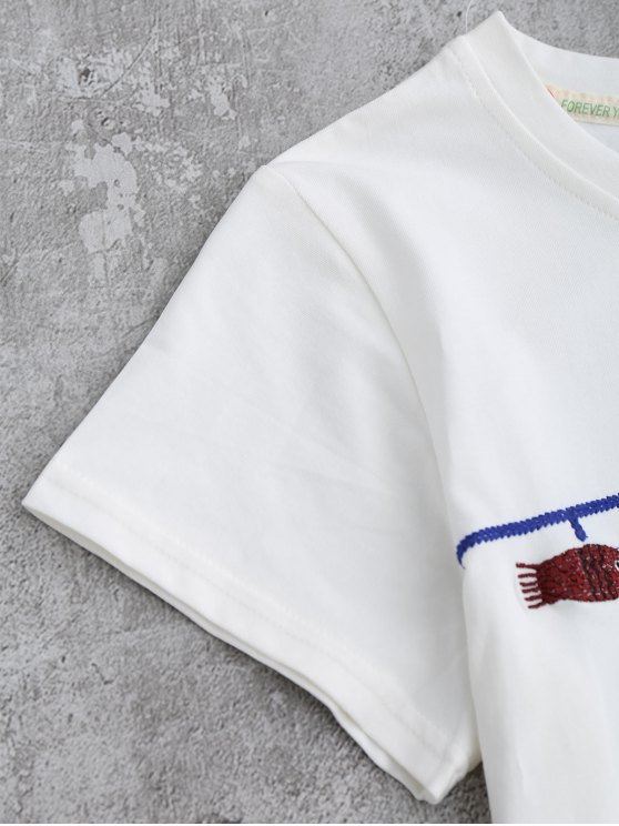 Cute Fish Embroidered T-Shirt - WHITE ONE SIZE Mobile