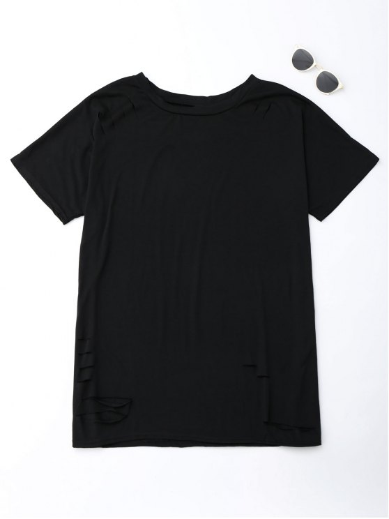 Cut Out Oversized Tunic T-Shirt - BLACK S Mobile
