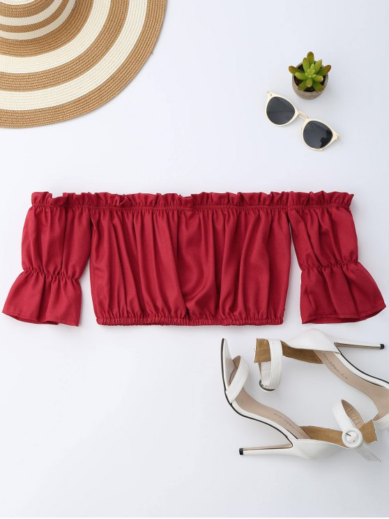 Off Shoulder Drawstring Cropped Top - RED M Mobile