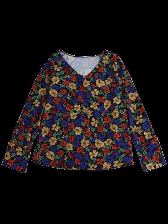 V Neck Floral Blouse - FLORAL S Mobile
