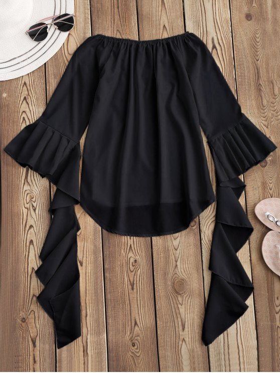 Dramatic Bell Sleeve Off The Shoulder Top - BLACK S Mobile