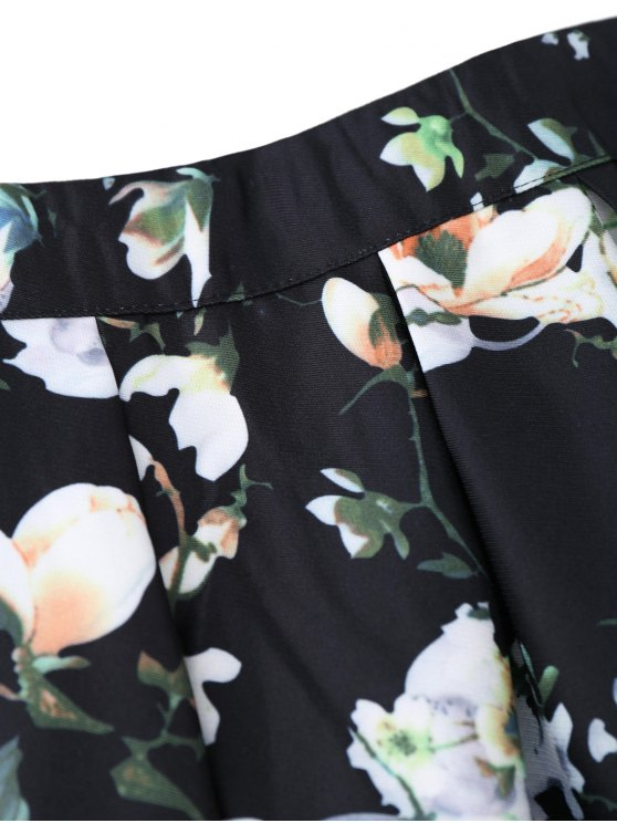 A Line Floral Skirt - BLACK ONE SIZE Mobile
