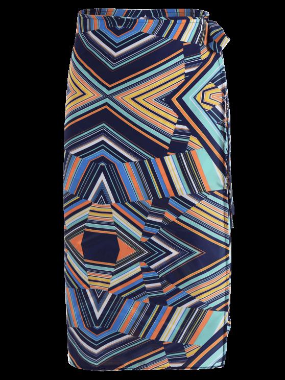 Multi Stripe Chiffon Midi Wrap Skirt - MULTICOLOR ONE SIZE Mobile