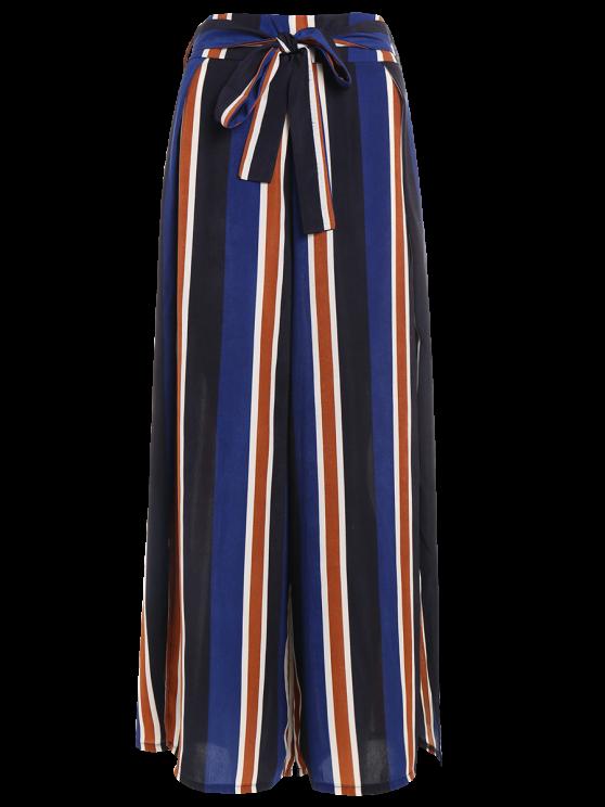 Striped Wide Leg Palazzo Pants - STRIPE XL Mobile