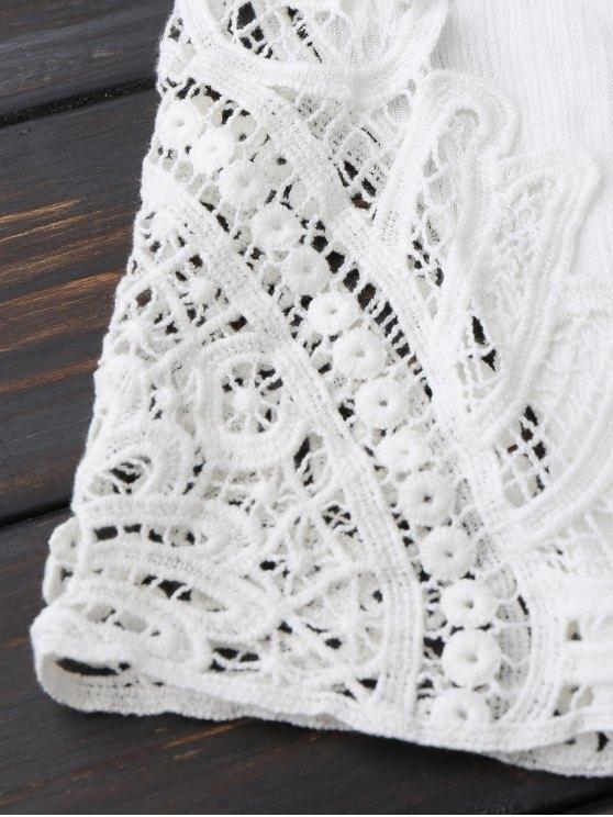 Plunge Low Back Linen Romper - WHITE XL Mobile