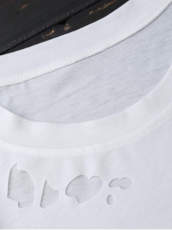 Ripped Short Sleeve T-Shirt - WHITE S Mobile