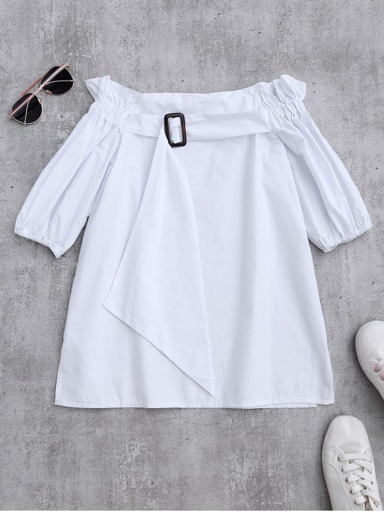Off Shoulder Ruffle Blouse With Belt - WHITE ONE SIZE Mobile