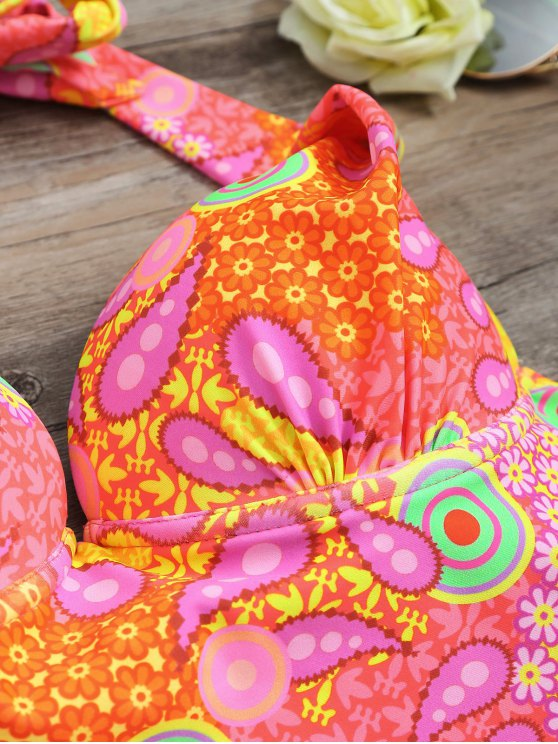 High Waisted Paisley Runched Tankini - FLUORESCENT PINK L Mobile