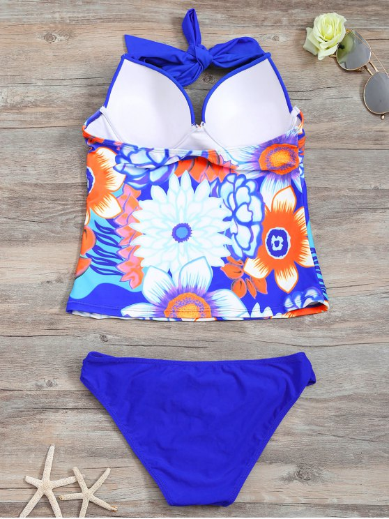 Underwire Floral Ruched Tankini Set - BLUE S Mobile