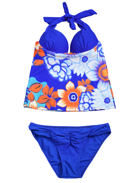 Underwire Floral Ruched Tankini Set - BLUE L Mobile