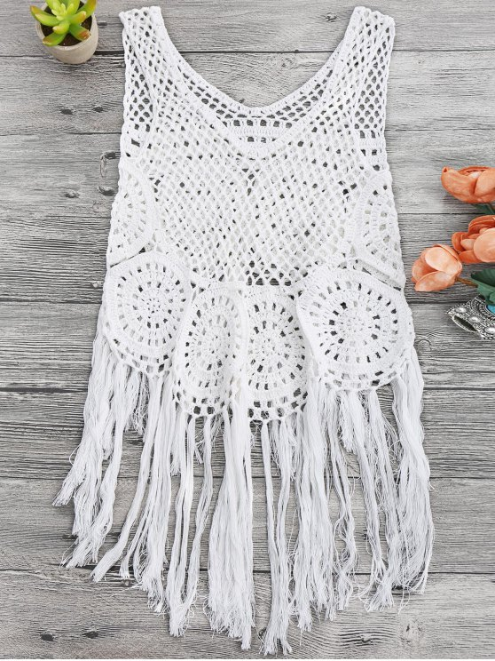 trendy Tasselled Beach Crochet Cover Up Tank Top - WHITE ONE SIZE
