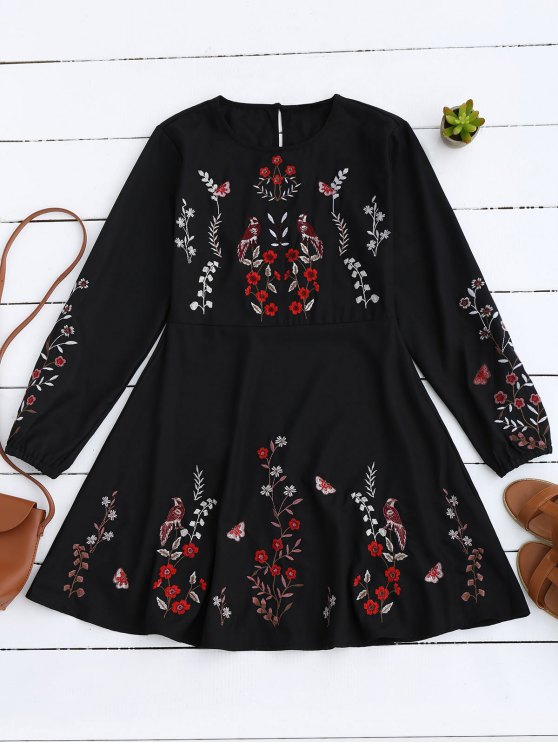 Floral Embroidered Vintage A-Line Dress - BLACK M Mobile