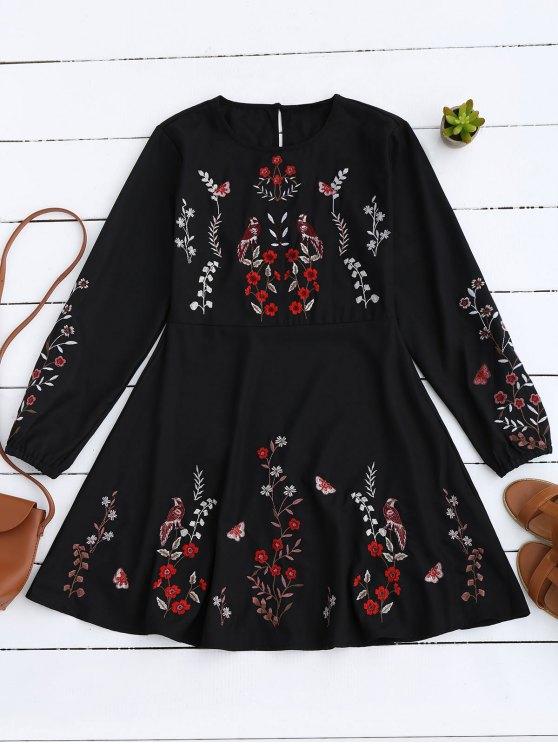 Floral Embroidered Vintage A-Line Dress - BLACK S Mobile