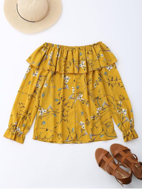 Off Shoulder Ruffle Drawstring Floral Blouse - YELLOW S Mobile