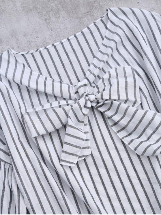 Striped Flare Sleeve Knot Front Top - WHITE AND BLACK ONE SIZE Mobile