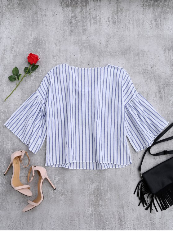 Striped Flare Sleeve Knot Front Top - BLUE STRIPE ONE SIZE Mobile