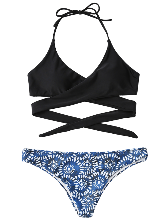 Wrap Front Bikini Top and Swim Bottoms - BLUE AND BLACK L Mobile
