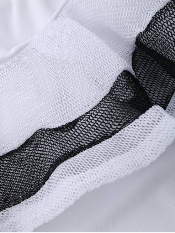 One Shoulder Mesh Ruffle Bodysuit - WHITE M Mobile