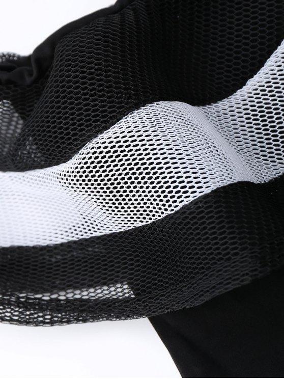 One Shoulder Mesh Ruffle Bodysuit - BLACK XL Mobile