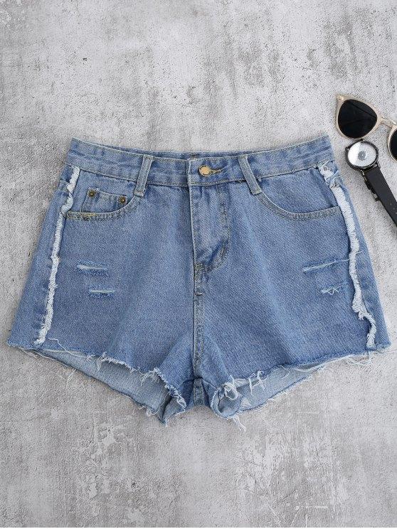 Cutoffs Ripped Shorts - LIGHT BLUE L Mobile