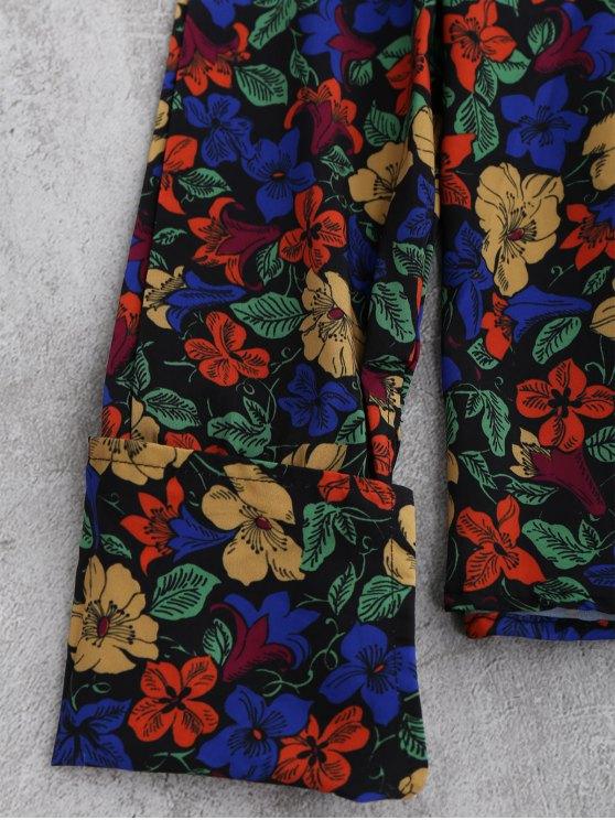 V Neck Floral Blouse - FLORAL L Mobile