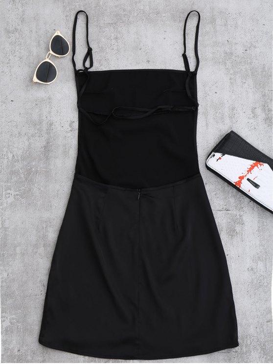 Backless Mini Slip Dress - BLACK S Mobile