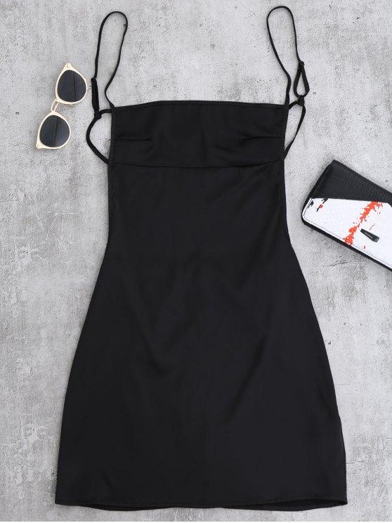 shop Backless Mini Slip Dress - BLACK S