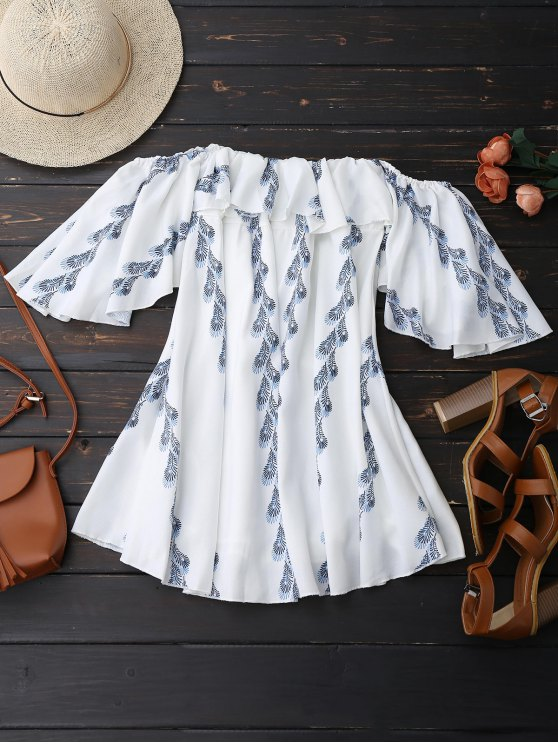Off Shoulder Butterfly Sleeve Ruffle Dress - WHITE S Mobile