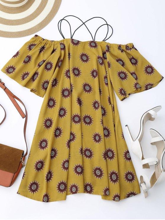 Floral espagueti correas de hombro frío vestido de vacaciones - Jengibre S