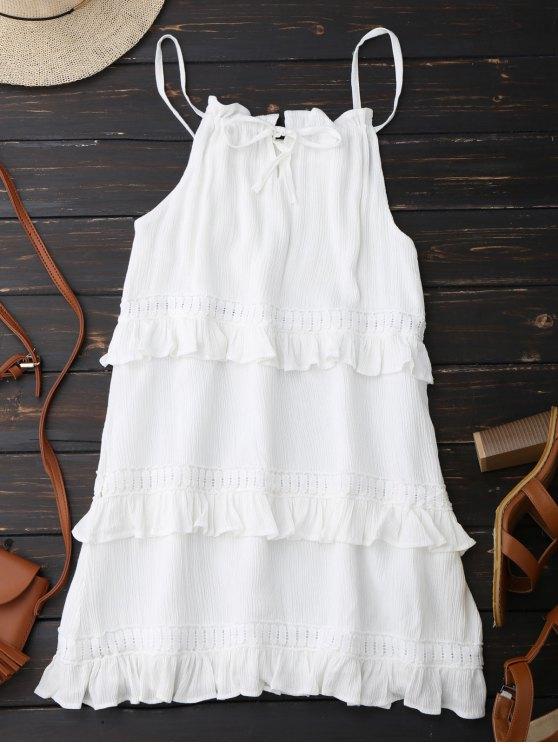 shops Slip Ruffle Summer Dress - WHITE M