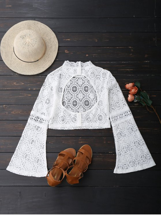 Low Back Flare Sleeve Lace Crop Top - WHITE S Mobile