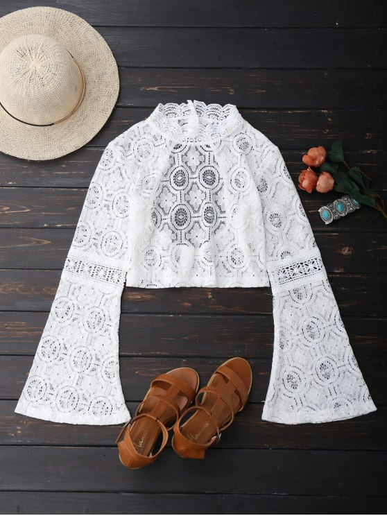 unique Low Back Flare Sleeve Lace Crop Top - WHITE M