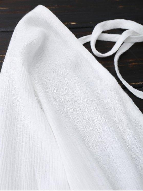 Plunge Low Back Linen Romper - WHITE S Mobile