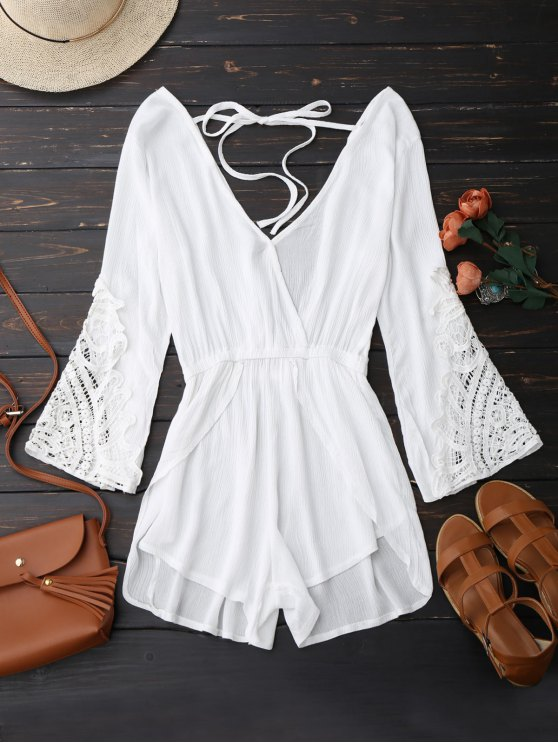 Plunge Low Back Linen Romper - Blanc XL