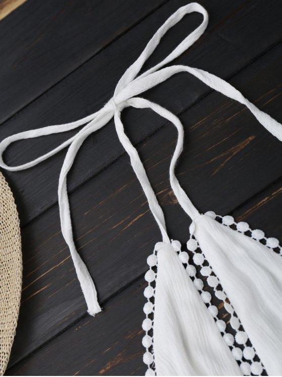 Plunge Halter Drawstring Linen Romper - WHITE S Mobile