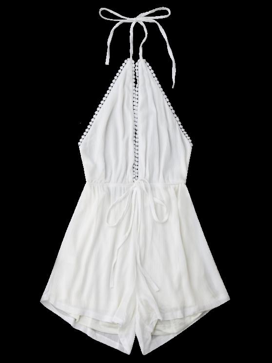 Plunge Halter Drawstring Linen Romper - WHITE XL Mobile