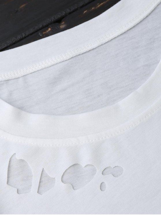 Ripped Short Sleeve T-Shirt - WHITE S Mobile