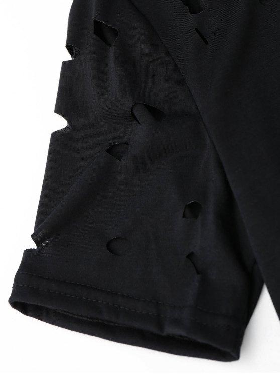 Ripped Short Sleeve T-Shirt - BLACK S Mobile