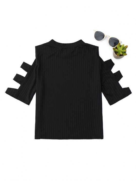 Mock Neck Cut Out Sleeve Cropped Top - BLACK S Mobile
