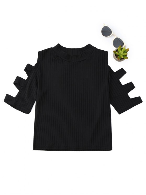 new Mock Neck Cut Out Sleeve Cropped Top - BLACK L