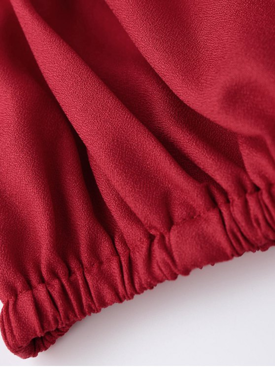 Off Shoulder Drawstring Cropped Top - RED S Mobile