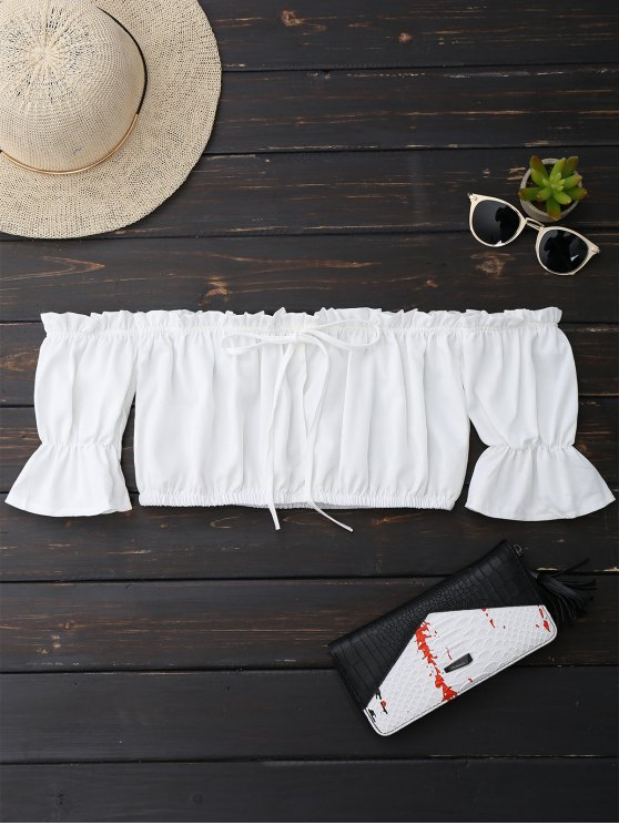 women's Off Shoulder Drawstring Cropped Top - WHITE M